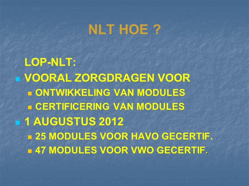 NLT: HOE ? STUURGROEP NLT (Prof. Harry Eikelhof) INVOERINGSTRAJECT LOP-NLT ONTWIKKELING EN UITVOERING NU: LCP-NLT REGIONALE VAKSTEUNPUNTEN (11)