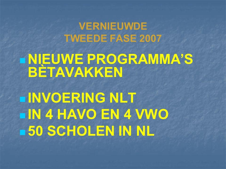 VERNIEUWDE TWEEDE FASE 2007 NIEUWE PROGRAMMA'S BÈTAVAKKEN INVOERING NLT IN 4 HAVO EN 4 VWO 50 SCHOLEN IN NL
