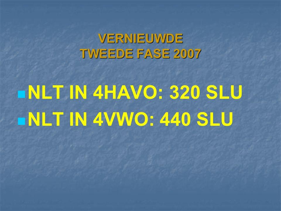 VERNIEUWDE TWEEDE FASE 2007 NLT IN 4HAVO: 320 SLU NLT IN 4VWO: 440 SLU