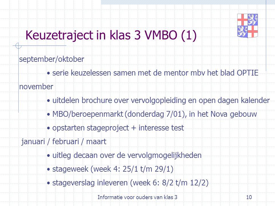 Informatie voor ouders van klas 310 Keuzetraject in klas 3 VMBO (1) september/oktober serie keuzelessen samen met de mentor mbv het blad OPTIE novembe
