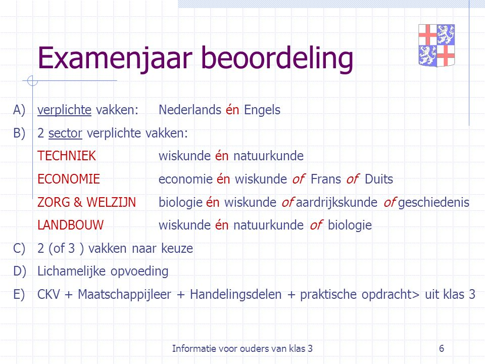 Informatie voor ouders van klas 36 Examenjaar beoordeling A)verplichte vakken:Nederlands én Engels B)2 sector verplichte vakken: TECHNIEKwiskunde én n