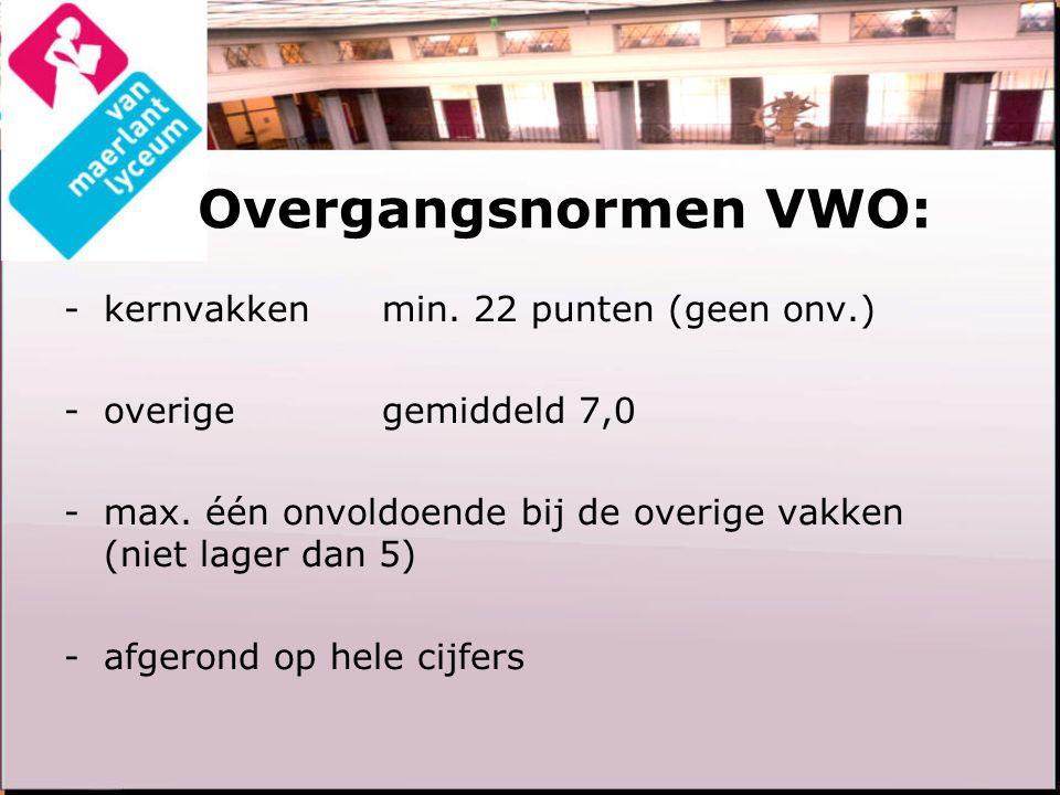 Overgangsnormen VWO: -kernvakken min. 22 punten (geen onv.) -overigegemiddeld 7,0 -max. één onvoldoende bij de overige vakken (niet lager dan 5) -afge
