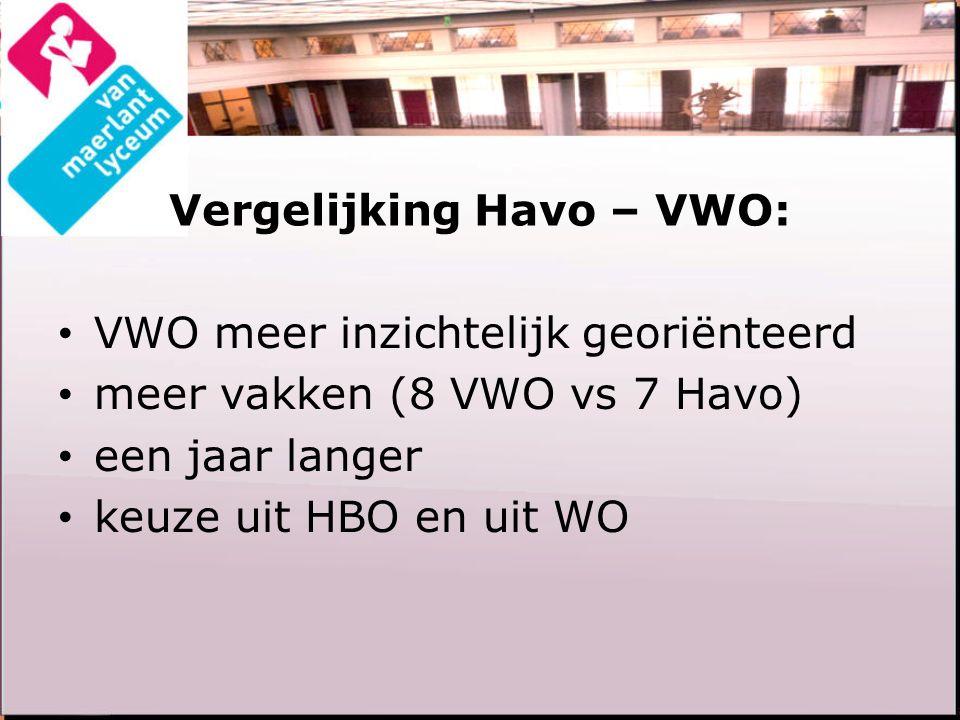 Vergelijking Havo – VWO: VWO meer inzichtelijk georiënteerd meer vakken (8 VWO vs 7 Havo) een jaar langer keuze uit HBO en uit WO