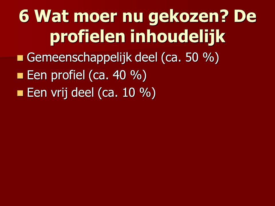 6 Wat moer nu gekozen? De profielen inhoudelijk Gemeenschappelijk deel (ca. 50 %) Gemeenschappelijk deel (ca. 50 %) Een profiel (ca. 40 %) Een profiel