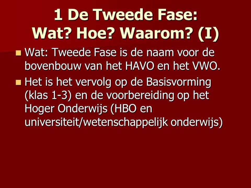 1 De Tweede Fase: Wat? Hoe? Waarom? (I) Wat: Tweede Fase is de naam voor de bovenbouw van het HAVO en het VWO. Wat: Tweede Fase is de naam voor de bov