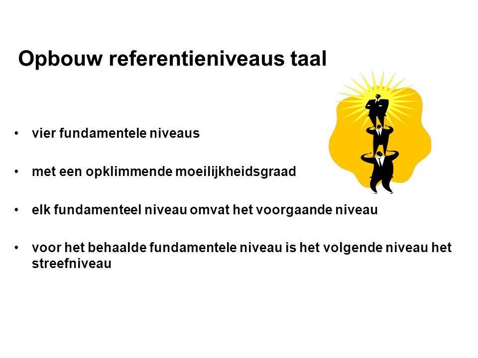 Opbouw referentieniveaus taal vier fundamentele niveaus met een opklimmende moeilijkheidsgraad elk fundamenteel niveau omvat het voorgaande niveau voor het behaalde fundamentele niveau is het volgende niveau het streefniveau