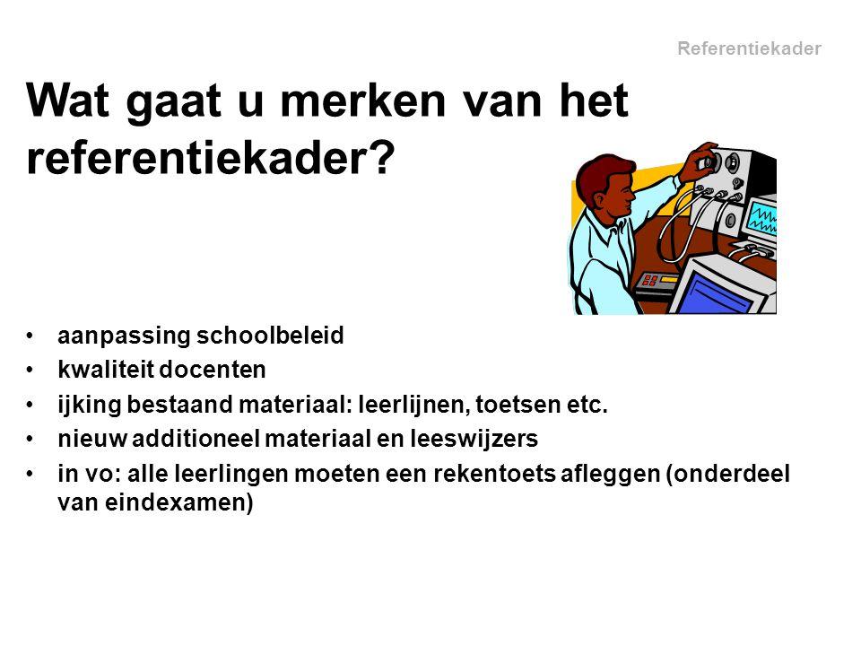 Referentiekader aanpassing schoolbeleid kwaliteit docenten ijking bestaand materiaal: leerlijnen, toetsen etc.
