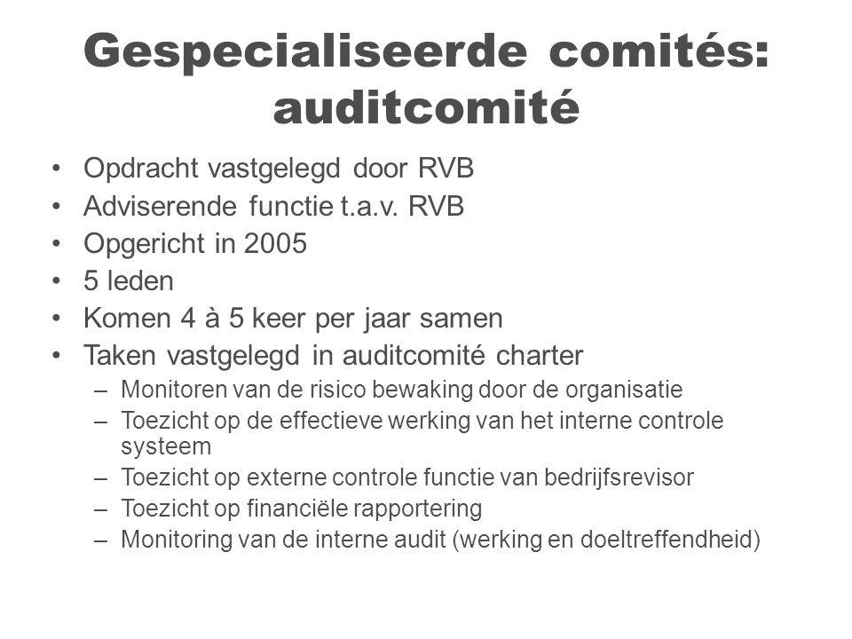 Gespecialiseerde comités: auditcomité Opdracht vastgelegd door RVB Adviserende functie t.a.v.