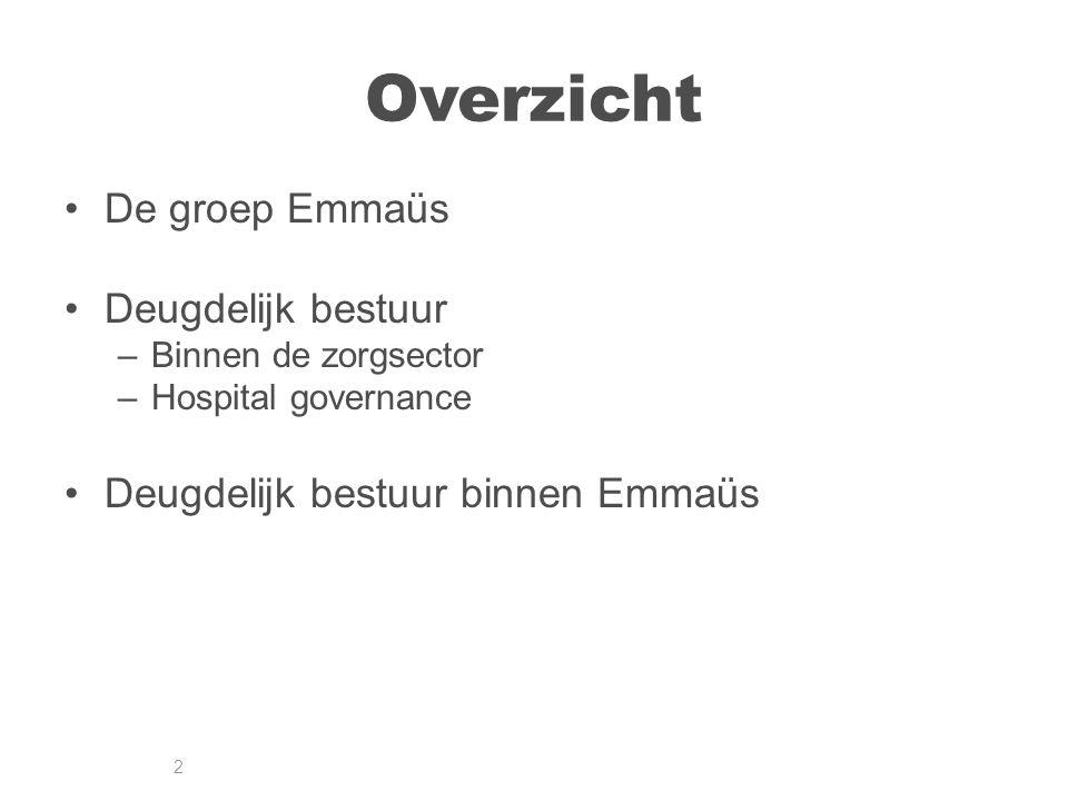 2 Overzicht De groep Emmaüs Deugdelijk bestuur –Binnen de zorgsector –Hospital governance Deugdelijk bestuur binnen Emmaüs