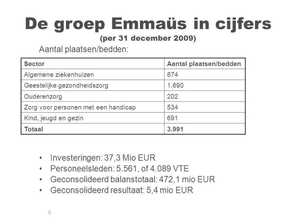 5 De groep Emmaüs in cijfers (per 31 december 2009) Aantal plaatsen/bedden: Investeringen: 37,3 Mio EUR Personeelsleden: 5.561, of 4.089 VTE Geconsolideerd balanstotaal: 472,1 mio EUR Geconsolideerd resultaat: 5,4 mio EUR SectorAantal plaatsen/bedden Algemene ziekenhuizen874 Geestelijke gezondheidszorg1.690 Ouderenzorg202 Zorg voor personen met een handicap534 Kind, jeugd en gezin691 Totaal3.991