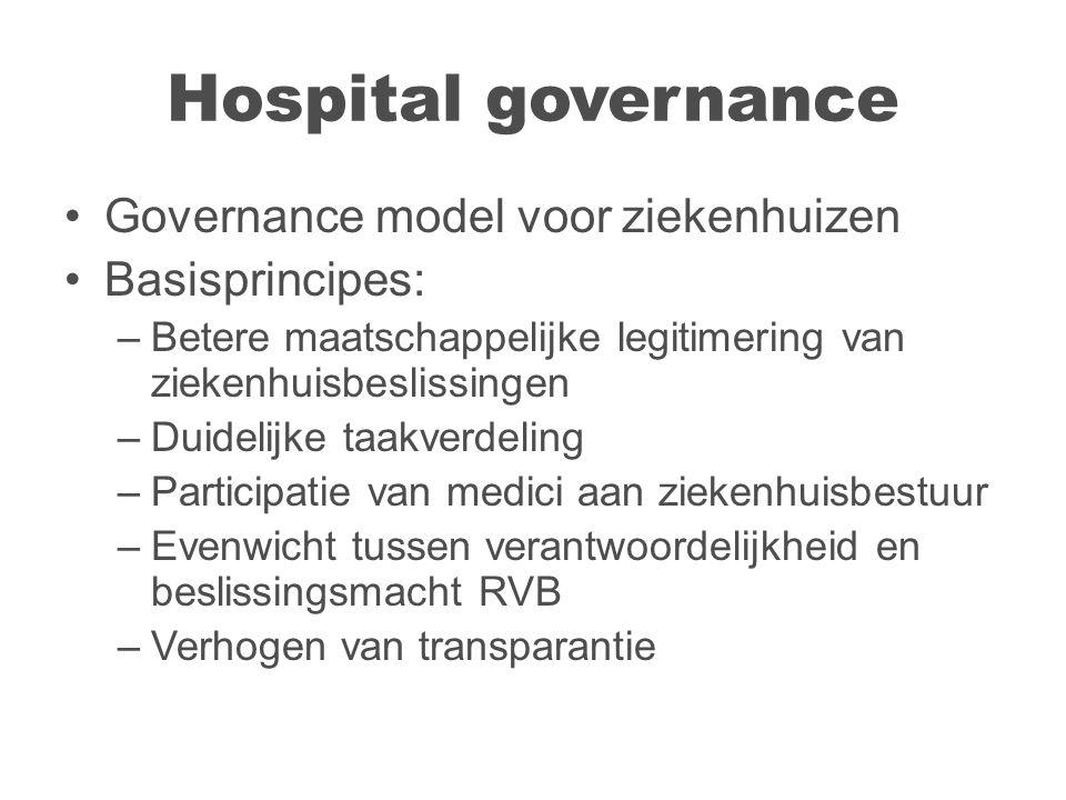 Hospital governance Governance model voor ziekenhuizen Basisprincipes: –Betere maatschappelijke legitimering van ziekenhuisbeslissingen –Duidelijke taakverdeling –Participatie van medici aan ziekenhuisbestuur –Evenwicht tussen verantwoordelijkheid en beslissingsmacht RVB –Verhogen van transparantie
