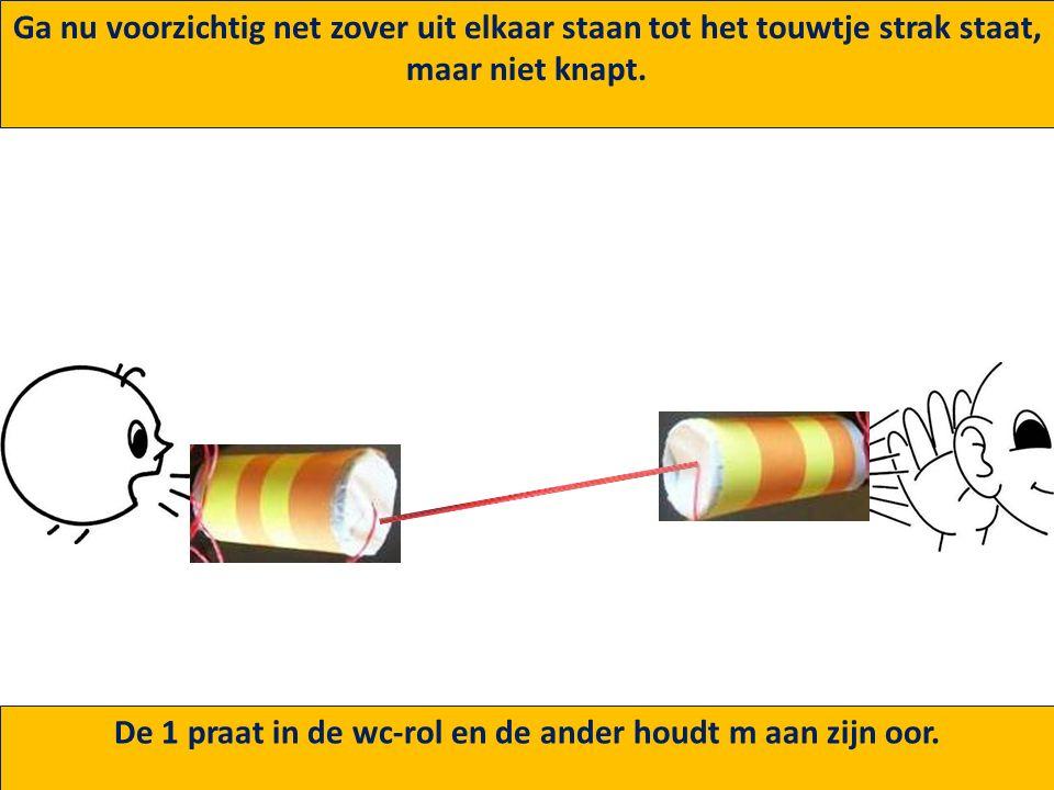 4. Doe eerst de touwtjes door de geprikte gaatjes 5. Knoop dan aan de onderkant van de wc-rol een paperclip aan het touwtje.
