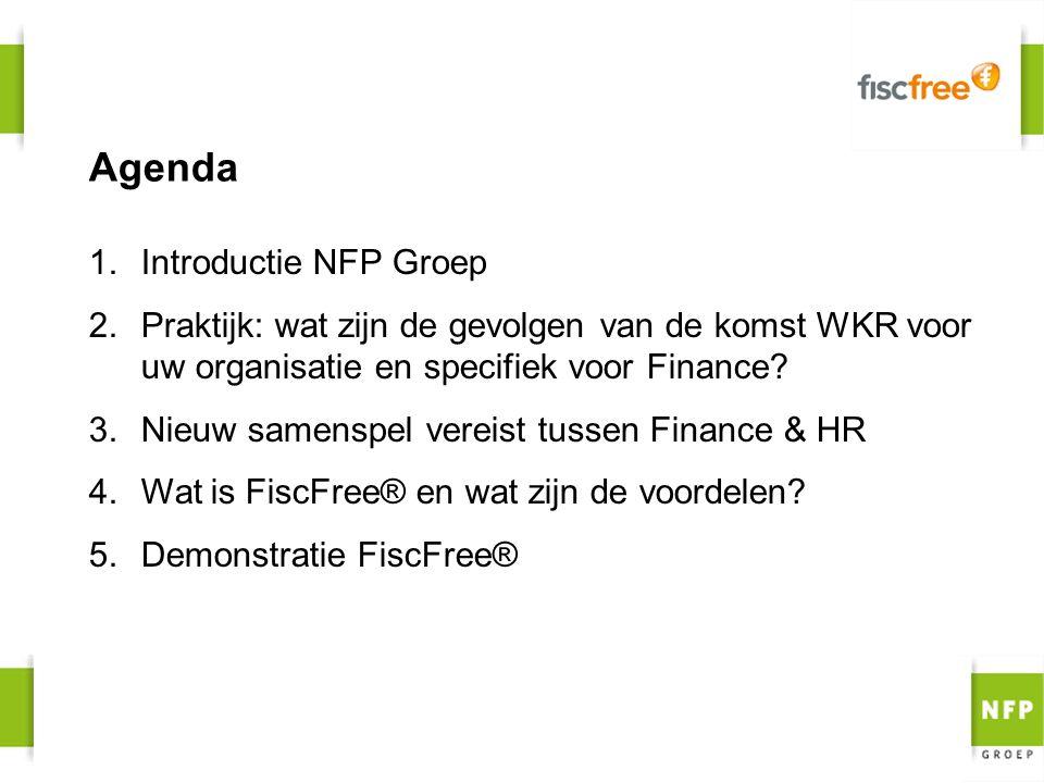 Agenda 1.Introductie NFP Groep 2.Praktijk: wat zijn de gevolgen van de komst WKR voor uw organisatie en specifiek voor Finance? 3.Nieuw samenspel vere