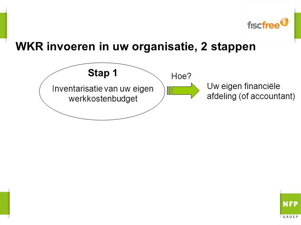 WKR invoeren in uw organisatie, 2 stappen Stap 1 Inventarisatie van uw eigen werkkostenbudget Uw eigen financiële afdeling (of accountant) Hoe?