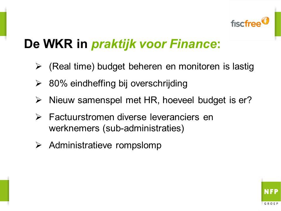  (Real time) budget beheren en monitoren is lastig  80% eindheffing bij overschrijding  Nieuw samenspel met HR, hoeveel budget is er?  Factuurstro