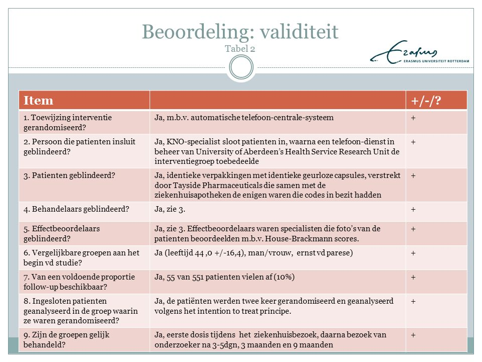 Beoordeling: validiteit Tabel 2 Item+/-/? 1. Toewijzing interventie gerandomiseerd? Ja, m.b.v. automatische telefoon-centrale-systeem+ 2. Persoon die