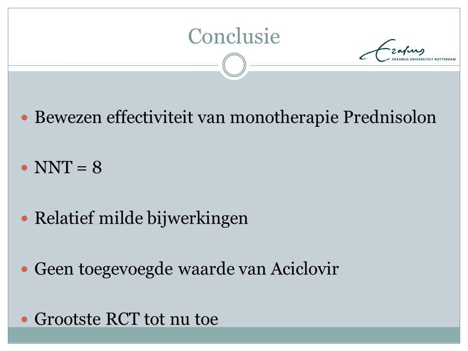 Conclusie Bewezen effectiviteit van monotherapie Prednisolon NNT = 8 Relatief milde bijwerkingen Geen toegevoegde waarde van Aciclovir Grootste RCT to