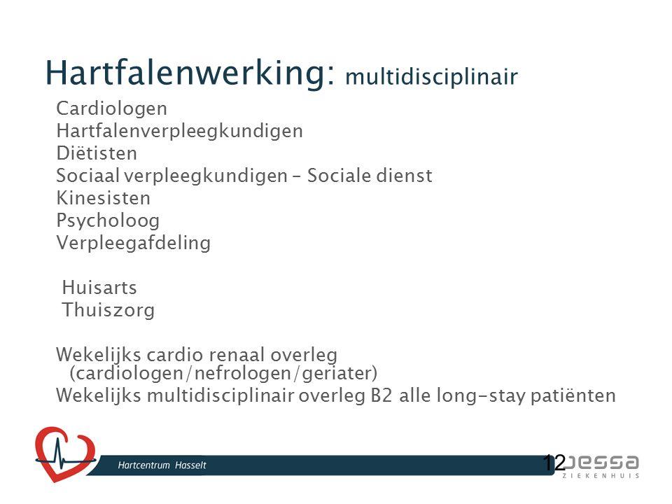 12 Hartfalenwerking: multidisciplinair Cardiologen Hartfalenverpleegkundigen Diëtisten Sociaal verpleegkundigen – Sociale dienst Kinesisten Psycholoog