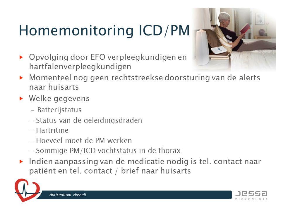 Homemonitoring ICD/PM Opvolging door EFO verpleegkundigen en hartfalenverpleegkundigen Momenteel nog geen rechtstreekse doorsturing van de alerts naar