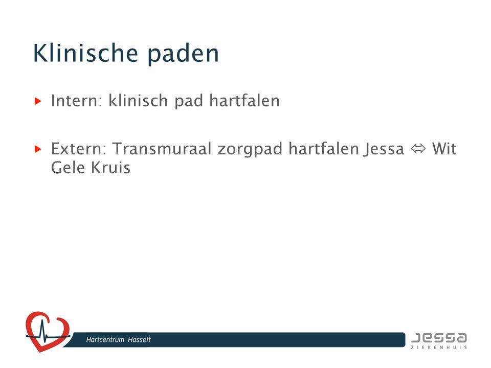 Klinische paden Intern: klinisch pad hartfalen Extern: Transmuraal zorgpad hartfalen Jessa  Wit Gele Kruis