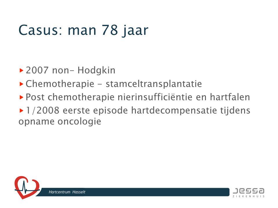 Casus: consult cardiologie Echo: EF 25% sterk gestuwd RX-Thorax pleuravocht labo: BNP: 2206 pg/ml Kreatinine 2,9 mg/dl Kalium 4,1 mmol/l Coronarografie, geen ischemie VKF 98/' BD 115/60 mmHG Start Diuretica Starten Ace-inhibitor lage dosis Start Cordarone® Start B-blokker Aspirine®, Marcoumar® Hartfaleneducatie Opvolging oncologie/nefro/HFraadpleging