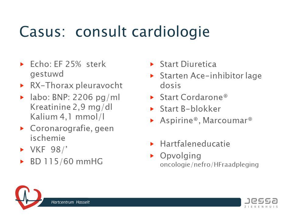 Casus: consult cardiologie Echo: EF 25% sterk gestuwd RX-Thorax pleuravocht labo: BNP: 2206 pg/ml Kreatinine 2,9 mg/dl Kalium 4,1 mmol/l Coronarografi