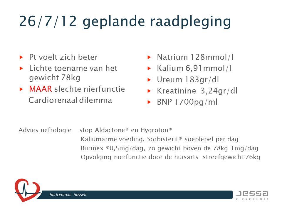 26/7/12 geplande raadpleging Pt voelt zich beter Lichte toename van het gewicht 78kg MAAR slechte nierfunctie Cardiorenaal dilemma Natrium 128mmol/l K