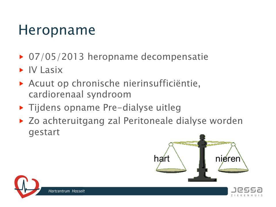 Heropname 07/05/2013 heropname decompensatie IV Lasix Acuut op chronische nierinsufficiëntie, cardiorenaal syndroom Tijdens opname Pre-dialyse uitleg