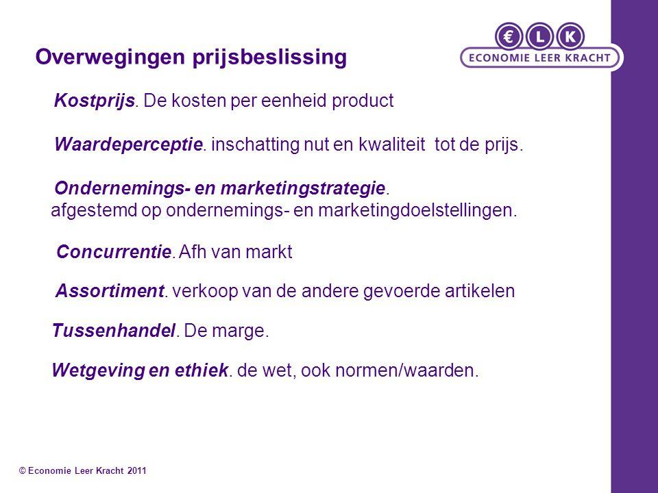 Overwegingen prijsbeslissing Kostprijs. De kosten per eenheid product Waardeperceptie.
