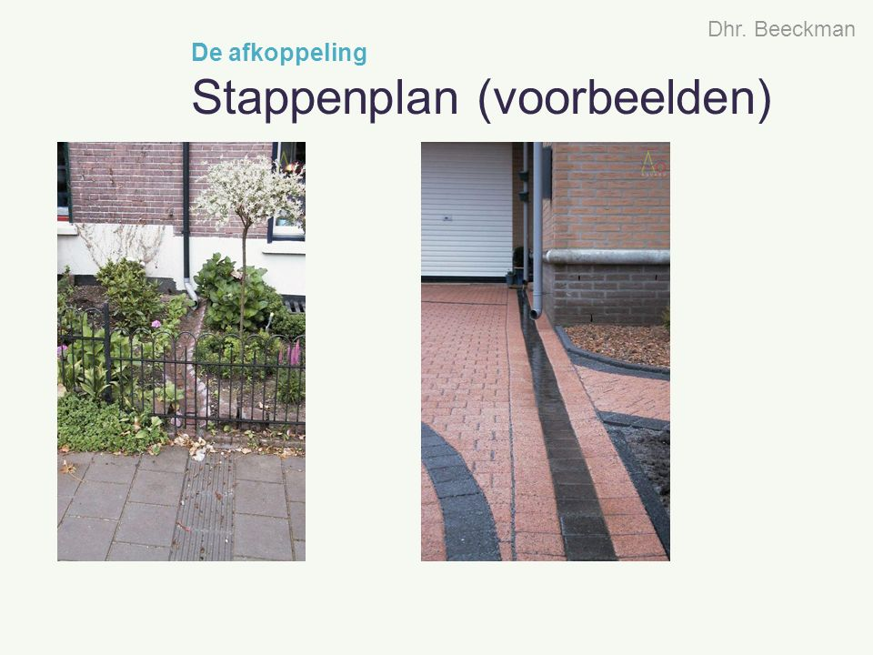 De afkoppeling Stappenplan (voorbeelden) Dhr. Beeckman