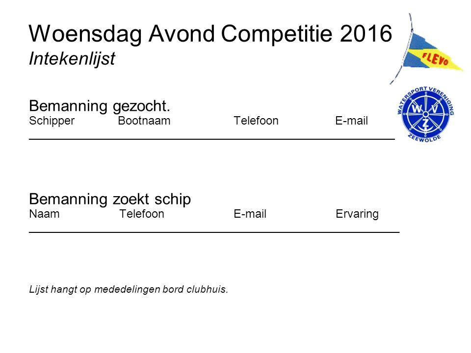 Woensdag Avond Competitie 2016 Intekenlijst Bemanning gezocht.