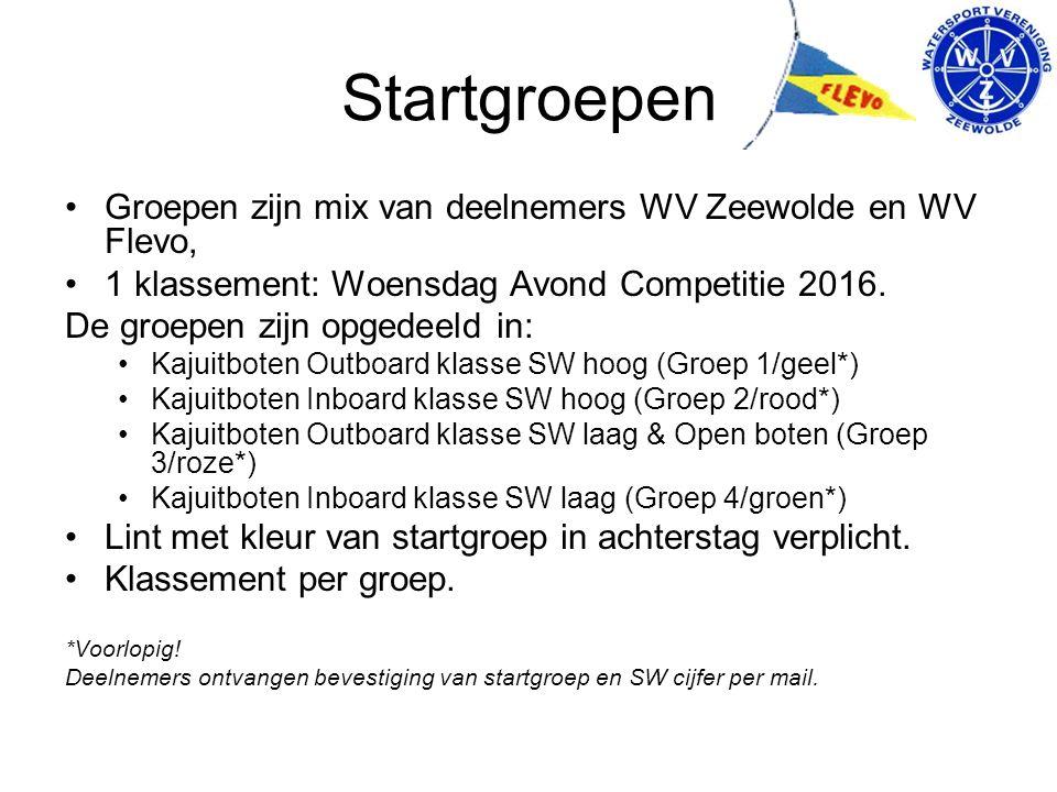 Startgroepen Groepen zijn mix van deelnemers WV Zeewolde en WV Flevo, 1 klassement: Woensdag Avond Competitie 2016.