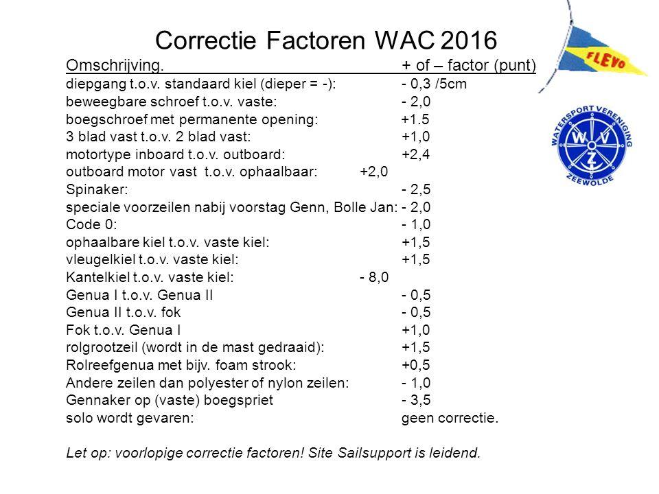 Correctie Factoren WAC 2016 Omschrijving.+ of – factor (punt) diepgang t.o.v.