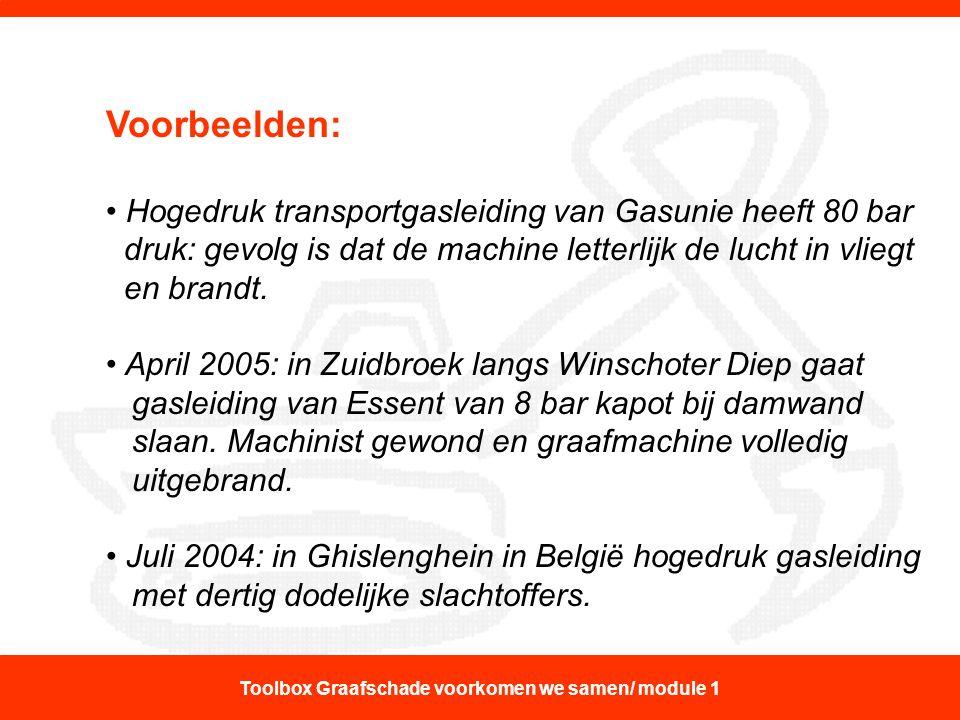 Voorbeelden: Hogedruk transportgasleiding van Gasunie heeft 80 bar druk: gevolg is dat de machine letterlijk de lucht in vliegt en brandt. April 2005: