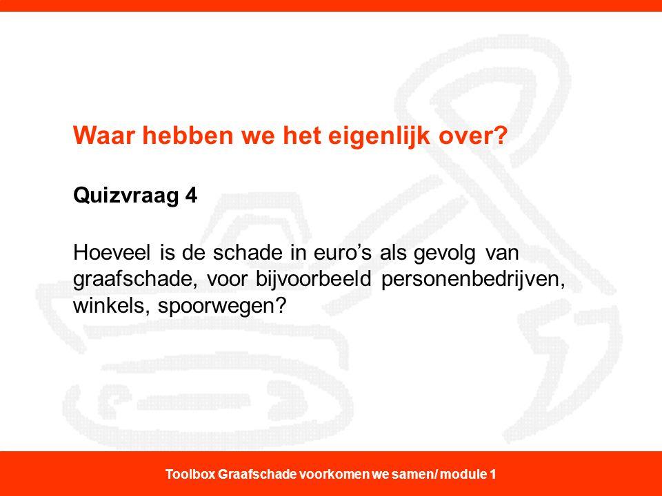 Waar hebben we het eigenlijk over? Quizvraag 4 Hoeveel is de schade in euro's als gevolg van graafschade, voor bijvoorbeeld personenbedrijven, winkels