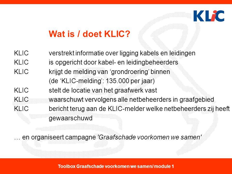 Wat is / doet KLIC? KLIC verstrekt informatie over ligging kabels en leidingen KLIC is opgericht door kabel- en leidingbeheerders KLIC krijgt de meldi