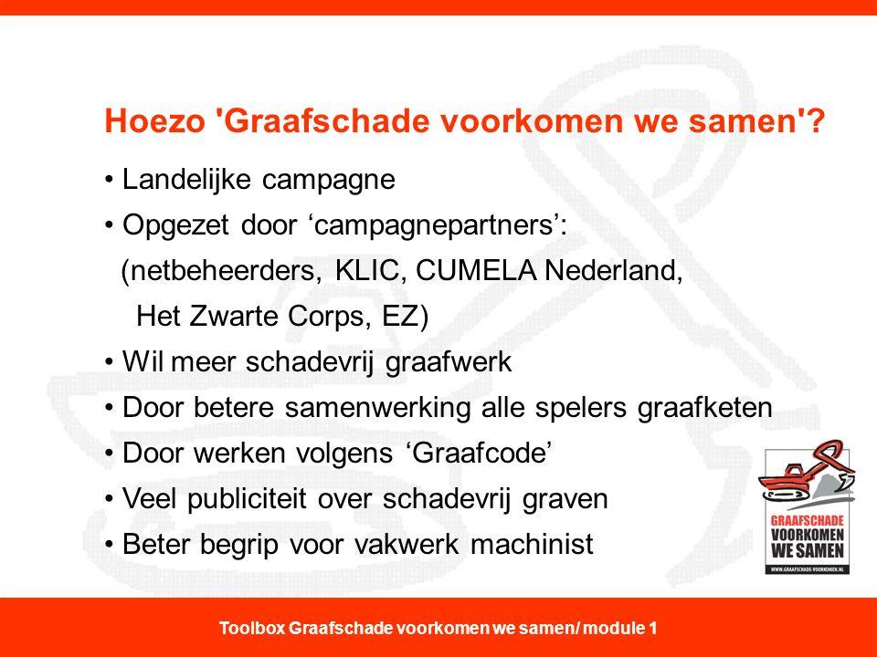 Hoezo 'Graafschade voorkomen we samen'? Landelijke campagne Opgezet door 'campagnepartners': (netbeheerders, KLIC, CUMELA Nederland, Het Zwarte Corps,