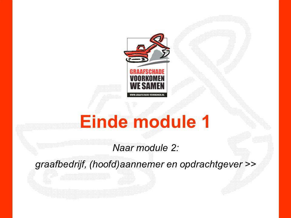 Einde module 1 Naar module 2: graafbedrijf, (hoofd)aannemer en opdrachtgever >>
