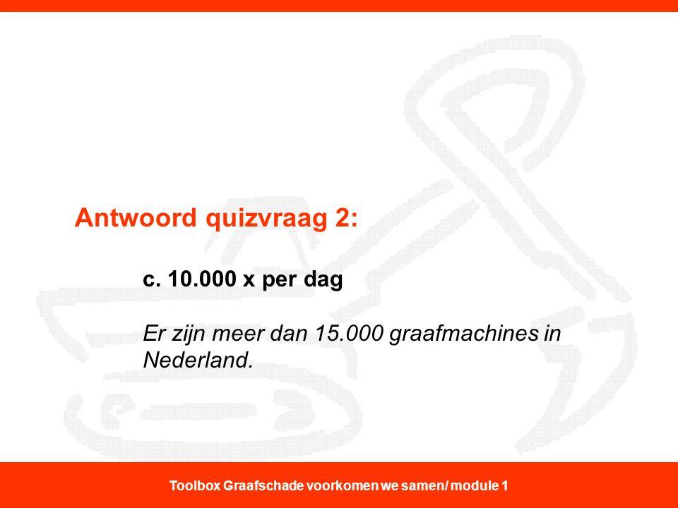 Antwoord quizvraag 2: c. 10.000 x per dag Er zijn meer dan 15.000 graafmachines in Nederland. Toolbox Graafschade voorkomen we samen/ module 1