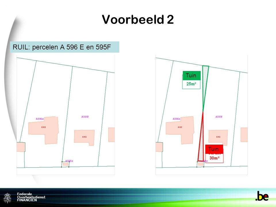 Federame Overheidsdienst FINANCIEN Federale Overheidsdienst FINANCIEN Voorbeeld 2 RUIL: percelen A 596 E en 595F Tuin