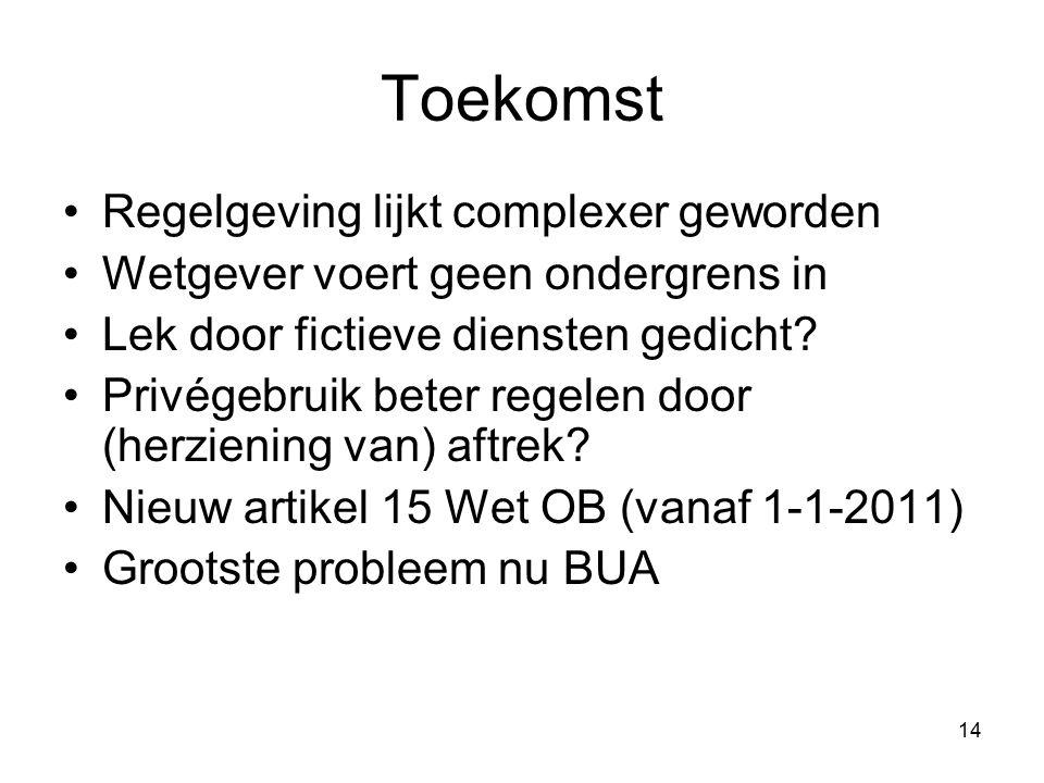 14 Toekomst Regelgeving lijkt complexer geworden Wetgever voert geen ondergrens in Lek door fictieve diensten gedicht.