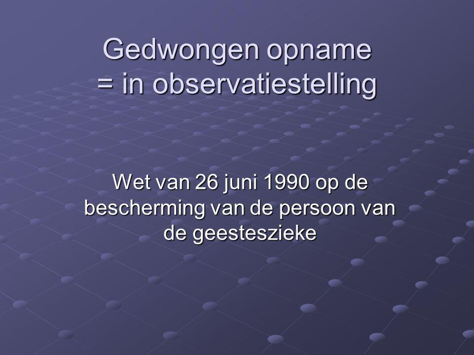 Cijfergegevens Vlaanderen  Spoedprocedure 81%  1995 – 2003 17% meerdere keren GO, goed voor 37% van alle GO (Oost Vlaanderen)  Verhouding 1 vrouw op 2 mannen  9% van alle opnames in 2003 (1997 5.5%)  Stijging in alle provincies (21% op 3 jaar)  0,39 per 1.000 inwoners