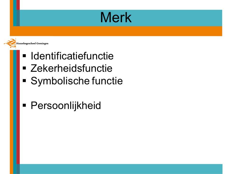 Merk  Identificatiefunctie  Zekerheidsfunctie  Symbolische functie  Persoonlijkheid