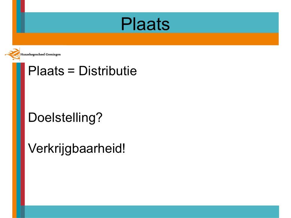 Plaats = Distributie Doelstelling Verkrijgbaarheid!
