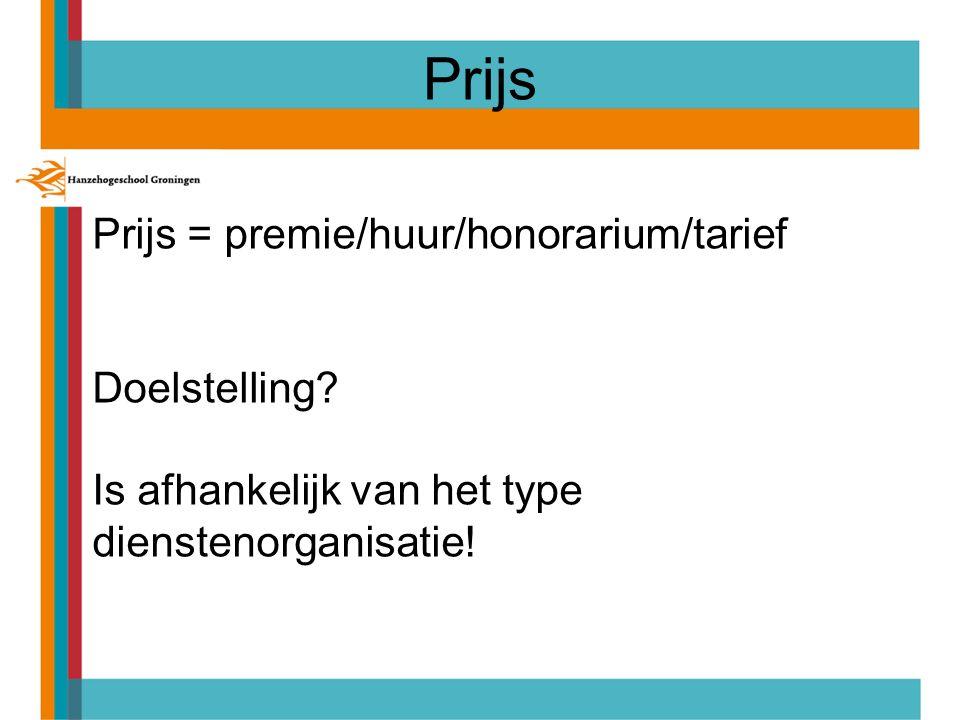 Prijs = premie/huur/honorarium/tarief Doelstelling.
