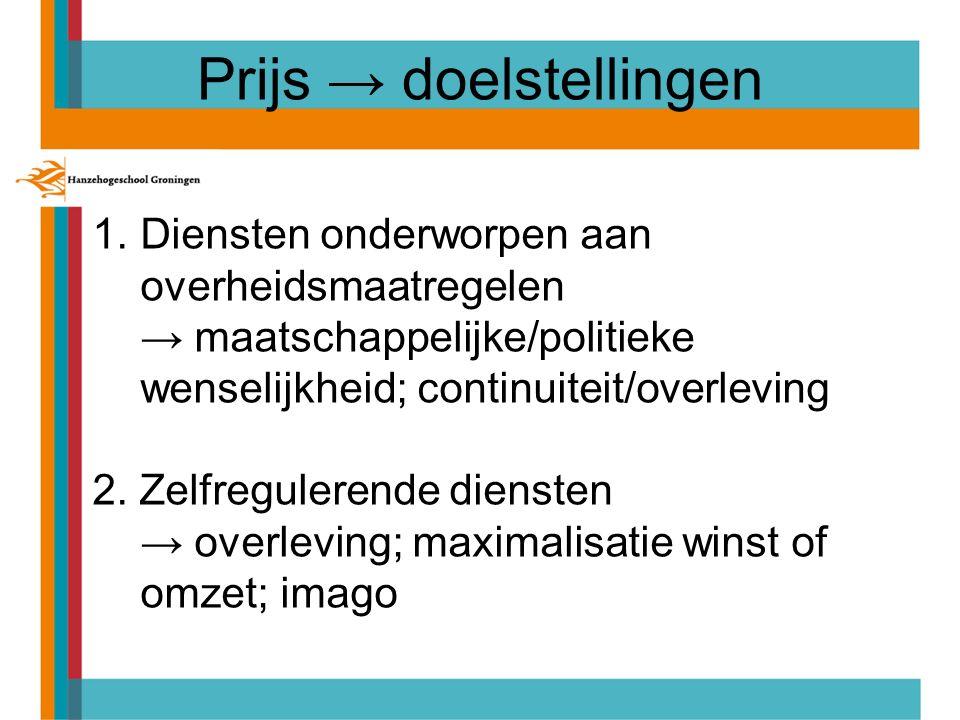 Prijs → doelstellingen 1.Diensten onderworpen aan overheidsmaatregelen → maatschappelijke/politieke wenselijkheid; continuiteit/overleving 2.