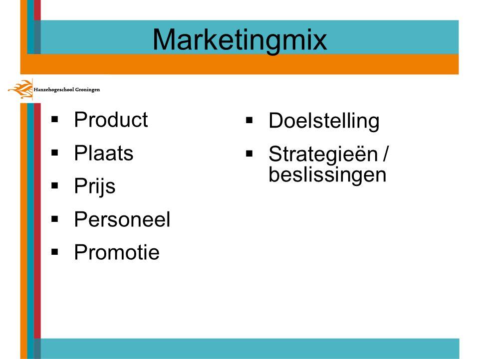 Marketingmix  Product  Plaats  Prijs  Personeel  Promotie  Doelstelling  Strategieën / beslissingen