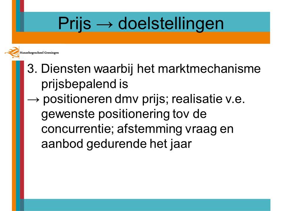 Prijs → doelstellingen 3. Diensten waarbij het marktmechanisme prijsbepalend is → positioneren dmv prijs; realisatie v.e. gewenste positionering tov d