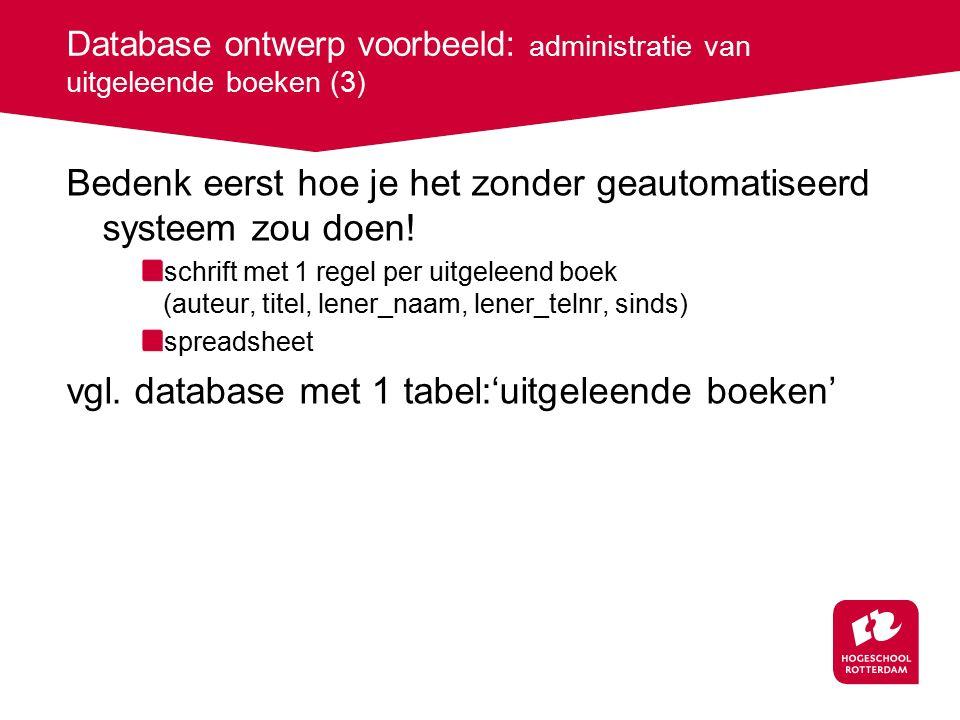 Database ontwerp voorbeeld: administratie van uitgeleende boeken (3) Bedenk eerst hoe je het zonder geautomatiseerd systeem zou doen.