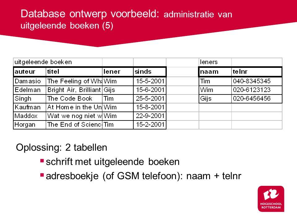 Database ontwerp voorbeeld: administratie van uitgeleende boeken (5) Oplossing: 2 tabellen  schrift met uitgeleende boeken  adresboekje (of GSM telefoon): naam + telnr